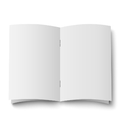 Blank white opened double spread of magazine vector