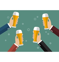 Businessmen toasting glasses of beer vector image
