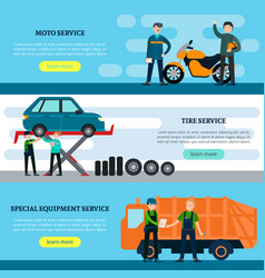 colorful repair services horizontal banners vector image vector image