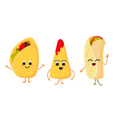 cute funny corn taco burrito and nachos with vector image vector image