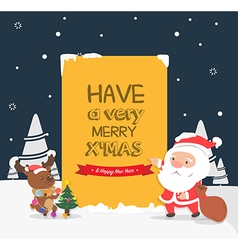 Merry Christmas greeting cardSanta and reindeer vector image vector image