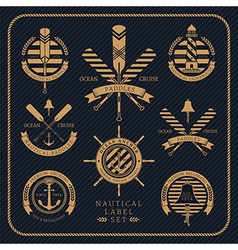Vintage nautical label set on dark striped vector image vector image