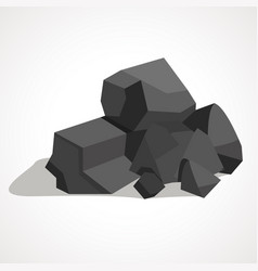 cartoon black coal stacked pile vector image vector image