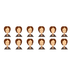 female emotions avatars set cartoon style vector image