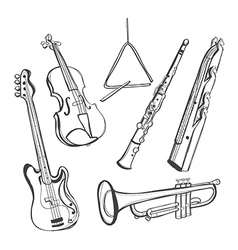 Hand-drawn instruments vector