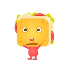 Sandwich Character Eating Sausage vector image