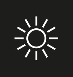 sun icon on black background vector image vector image