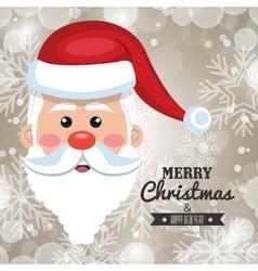 beautiful face santa card merry christmas vector image