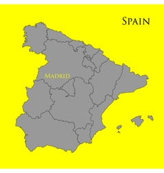 Contour map of Spain on a yellow 01 vector image