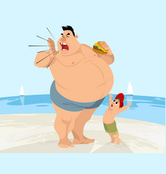 funny situation on the beach vector image