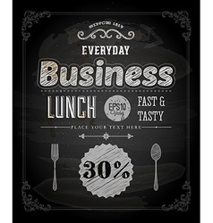 Restaurant Poster on Chalk Board vector image vector image