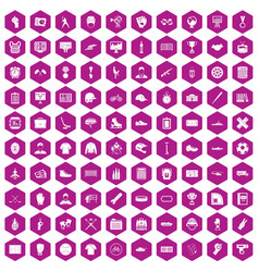 100 mens team icons hexagon violet vector