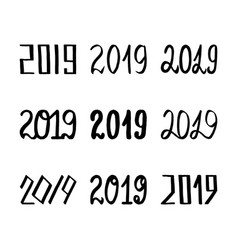 2019 handwritten lettering set for new year vector image