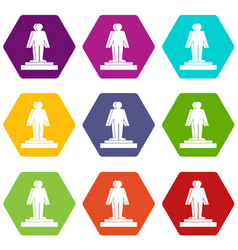 3d model of a man icon set color hexahedron vector image