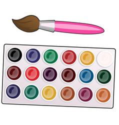 a palette with paint and brushes isolated on white vector image