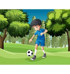 A soccer player kicking the ball vector image