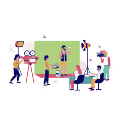 Advertising video production flat vector