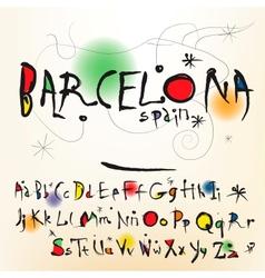 alphabet in style spanish artist of joan miro vector image