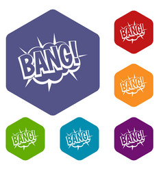 Bang speech bubble explosion icons set hexagon vector