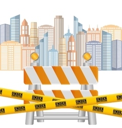 Barrier road tape under construction cityscape vector