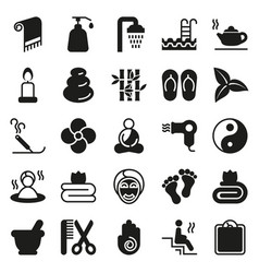black simple web icon set - spa beauty vector image