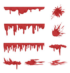 Blood spatters set dripping blood and stains vector