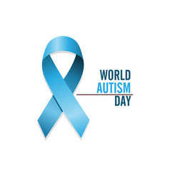 blue autism ribbon international autism awareness vector image