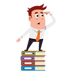 business flat character is searching on the folder vector image