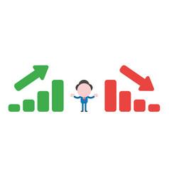 businessman character between sales bar charts vector image