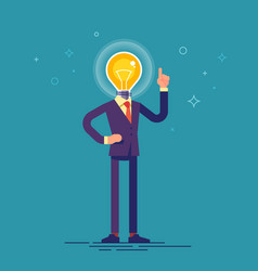 businessman with light bulb instead of his head vector image