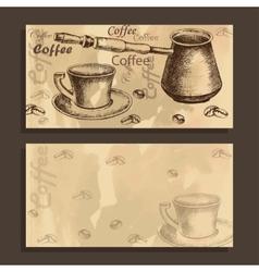 Card menu with sketch of coffe set vector image