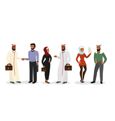 Cartoon arab men and women vector