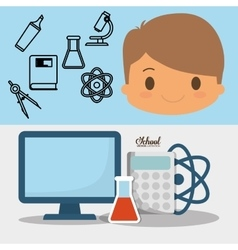 Cartoon boy pupil school pc laboratory chemical vector