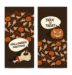 cartoon halloween vertical banners vector image