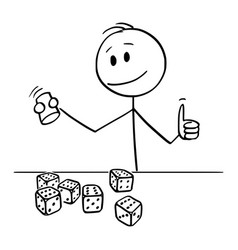 Cartoon happy man or player rolling dices with vector
