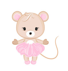 Cartoon mouse in dress vector