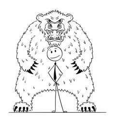cartoon of businessman standing with bear behind vector image
