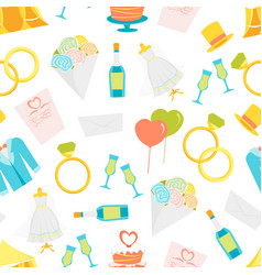 cartoon wedding seamless pattern background vector image