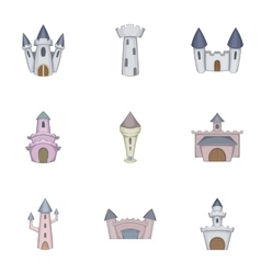 Castle tower icons set cartoon style vector