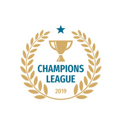 champions league badge logo design gold cup icon vector image