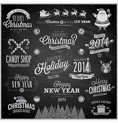 Christmas emblems chalk vector