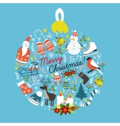 Christmas Hand Drawn Round Design vector