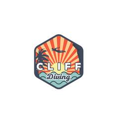 Cliff diving on beach logo designs palm vector
