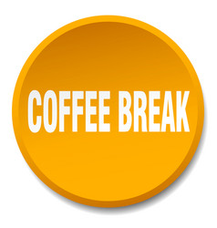 Coffee break orange round flat isolated push vector