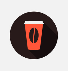 coffee cup with long shadow in flat style hot vector image