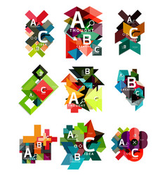collection of paper geometric infographics a b c vector image