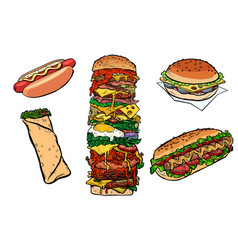 Collection set fast food kebab burger hot dog vector