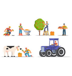 Colourful set farmers and agricultural workers vector