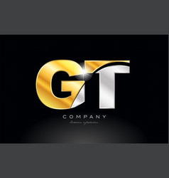 Combination letter gt g t alphabet with gold vector