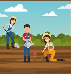 Couple of young gardeners doing gardening work vector